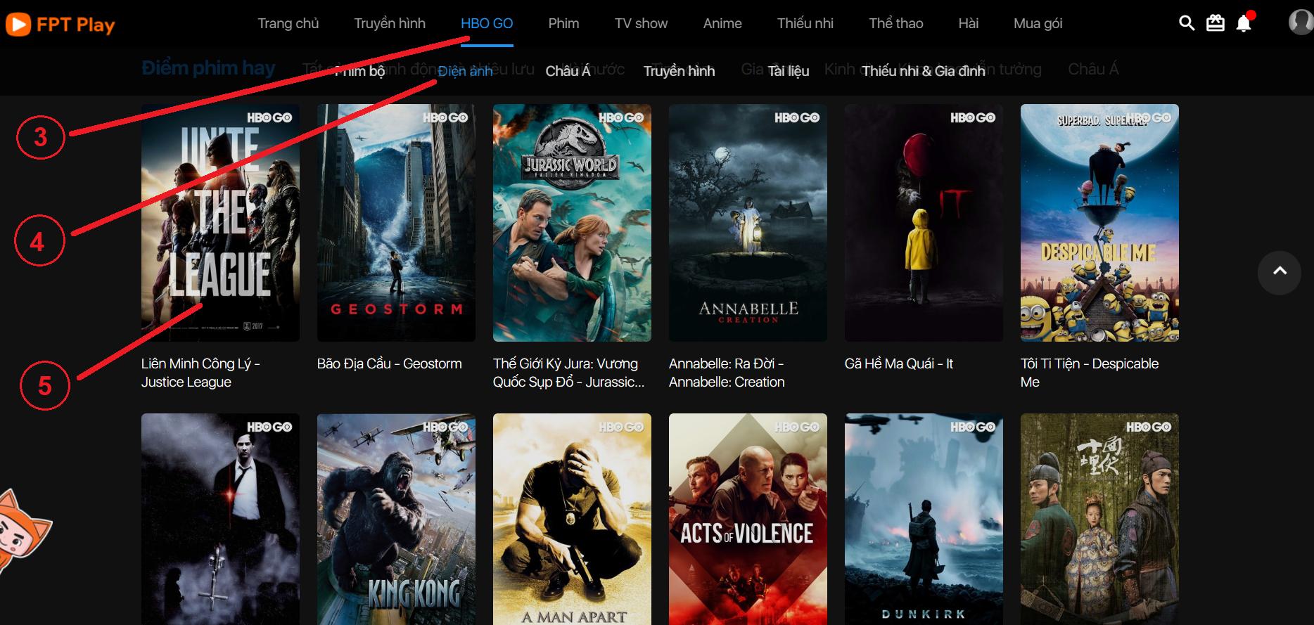 bước 3,4,5 mua gói kênh  HBO GO
